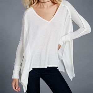 Free People Pacific Thermal White Long Sleeve Top